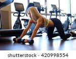 flexible blond female...   Shutterstock . vector #420998554