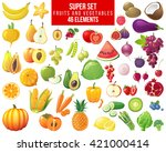 fruits  vegetables and berries... | Shutterstock .eps vector #421000414
