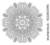 mandala doodle drawing. floral... | Shutterstock . vector #421001590