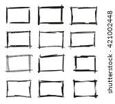 black grunge frames | Shutterstock .eps vector #421002448
