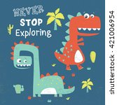 dinosaur illustration with... | Shutterstock .eps vector #421006954