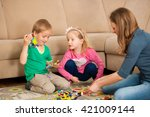 children and their mother are...   Shutterstock . vector #421009144