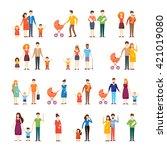 parents with kids  cartoon... | Shutterstock .eps vector #421019080