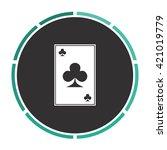 clubs card simple flat white...