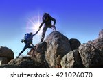 helping hands with sunlight... | Shutterstock . vector #421026070