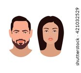 boy and girl faces. male and... | Shutterstock .eps vector #421032529