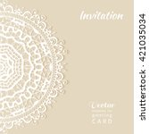 invitation card design with... | Shutterstock .eps vector #421035034