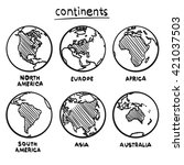 sketch drawing continents ... | Shutterstock .eps vector #421037503