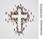 large group of people in the... | Shutterstock .eps vector #421039270