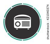 retro radio simple flat white...