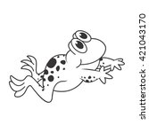 outline happy frog jumping... | Shutterstock .eps vector #421043170