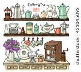 hand drawn vector set of ... | Shutterstock .eps vector #421045093