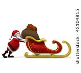 3d rendering/illustration of a cartoon santa pushing his sleigh from left to right - stock photo