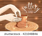 traditional pottery making ... | Shutterstock .eps vector #421048846