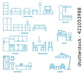 vector home furniture outline... | Shutterstock .eps vector #421053988