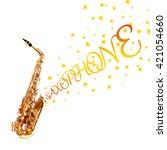 golden saxophone with stars... | Shutterstock . vector #421054660