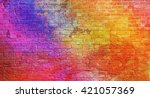 colorful  brick wall background | Shutterstock . vector #421057369