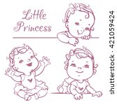 set with cute little baby girl... | Shutterstock .eps vector #421059424