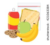 lunch vector illustration.... | Shutterstock .eps vector #421063384