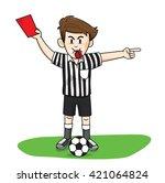 referee soccer red card man | Shutterstock .eps vector #421064824