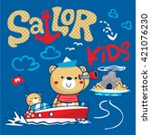 sailor bear and his brother... | Shutterstock .eps vector #421076230