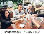 happy asian business friends... | Shutterstock . vector #421076410