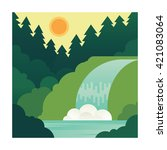 mountain landscape with... | Shutterstock .eps vector #421083064
