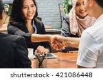 portrait of business people... | Shutterstock . vector #421086448