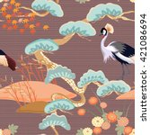 seamless birds. royal crane.... | Shutterstock .eps vector #421086694