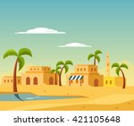 oasis with the town in desert... | Shutterstock .eps vector #421105648
