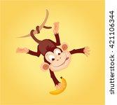monkey hanging on liana flat... | Shutterstock .eps vector #421106344