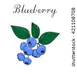 blueberries sketch vector... | Shutterstock .eps vector #421108708