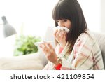 Young Sick Woman With Cold And...