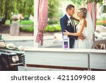 beautiful bride in the cafe...   Shutterstock . vector #421109908