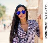 beautiful young woman wearing... | Shutterstock . vector #421110544