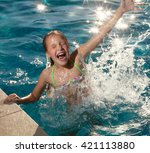 happy child at pool outdoors.... | Shutterstock . vector #421113880