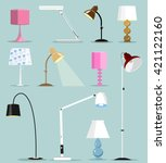 colorful modern lamps set. flat ... | Shutterstock .eps vector #421122160