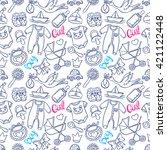 cute seamless pattern of... | Shutterstock .eps vector #421122448