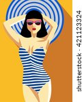 Woman In A Striped Bathing Sui...
