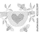 Line Art Design Of Honey Bees...