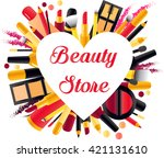 emblem of beauty shop in the... | Shutterstock .eps vector #421131610