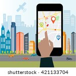 smartphone navigation app and... | Shutterstock .eps vector #421133704