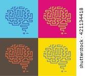 pop art side view human brain... | Shutterstock .eps vector #421134418