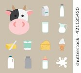 dairy product icons | Shutterstock .eps vector #421135420