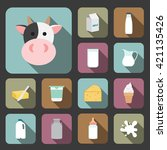 dairy product icons | Shutterstock .eps vector #421135426