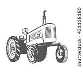farm tractor monochrome design... | Shutterstock .eps vector #421138180