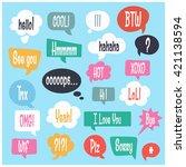 vector speech bubble colorful... | Shutterstock .eps vector #421138594