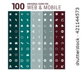 100 universal mobile and web... | Shutterstock .eps vector #421144573