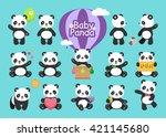 cute baby panda bear in various ...