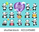 cute baby panda in various... | Shutterstock .eps vector #421145680